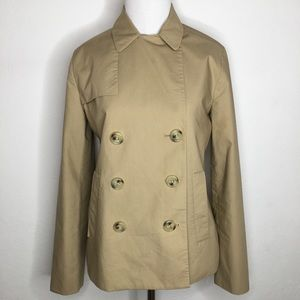 J. Crew Short Trench Jacket Size 0 Tan Brown